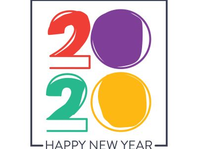 Happy New Year 2020 typography vector poster design illustration.