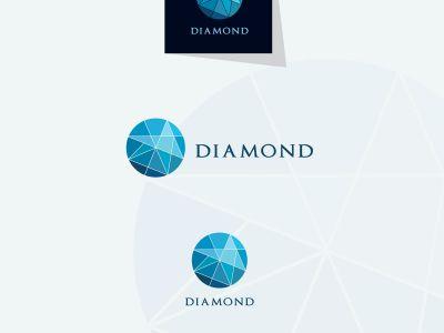 Diamond logo design, Crushing abstract pattern. Colorful precious stone logotype. Jewelry shop logo.