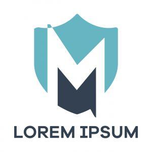 M letter logo design. Letter m in shield vector illustration.