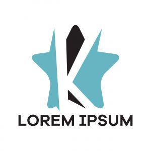 K letter logo design. Letter k in star shape vector illustration.