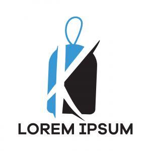 K letter logo design. Letter k in discount tag vector illustration.