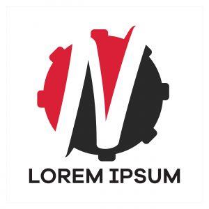 N letter logo design. Letter n in gear shape vector illustration.