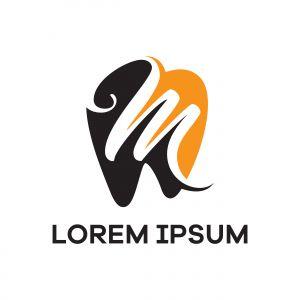 M letter logo design. Letter m in tooth shape vector illustration.