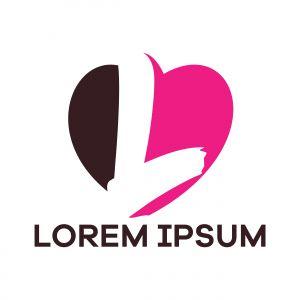 L letter logo design. Letter L in heart shape vector illustration.