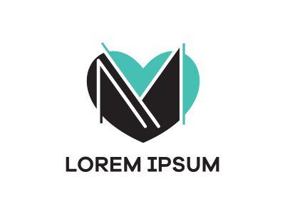 M letter logo design. Letter m in heart shape vector illustration.