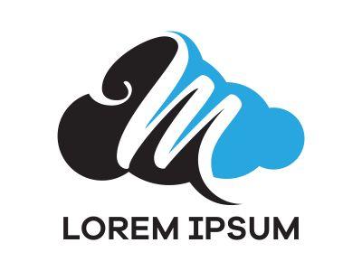 M letter logo design. Letter m in sky shape vector illustration.
