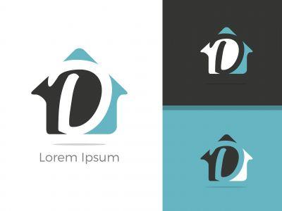 D dots logo design template. Hexagon D icon. D Letter Logo Vector.
