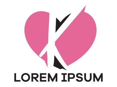 K letter logo design. Letter k in heart shape vector illustration.