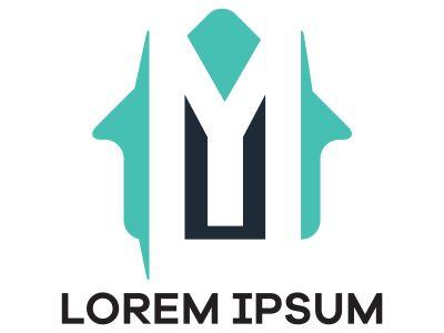 M letter logo design. Letter m in house shape vector illustration.