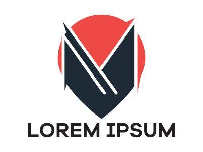 M letter logo design. Letter m in location pin shape vector illustration.