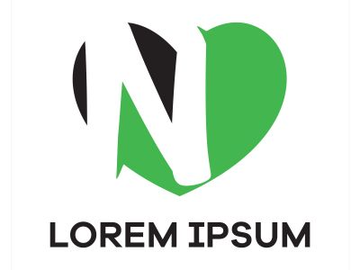 N letter logo design. Letter n in heart shape vector illustration.