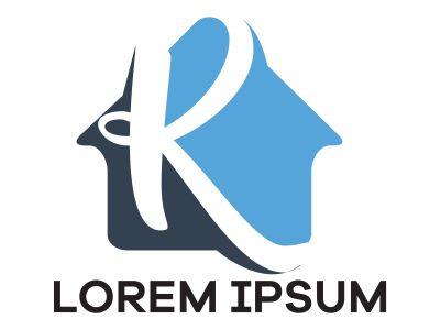K letter logo design. Letter k in house shape vector illustration.