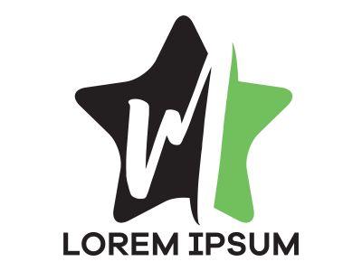 M letter logo design. Letter m in star shape vector illustration.