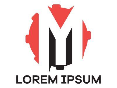 M letter logo design. Letter m in gear shape vector illustration.