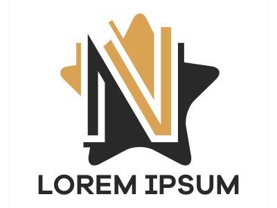 N letter logo design. Letter n in star shape vector illustration.