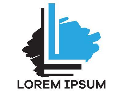 L letter logo design, Letter L in rough stroke shape vector illustration