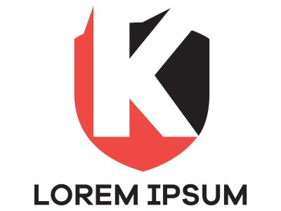 K letter logo design. Letter k in shield shape vector illustration