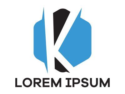 K letter logo design. Letter k in hexagonal shape vector illustration.