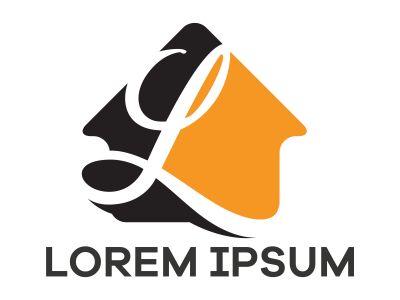 L letter logo design, Letter L in house shape vector illustration