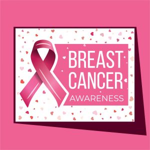 Breast cancer awareness campaign vector poster design. Strong woman breast protection message illustration.