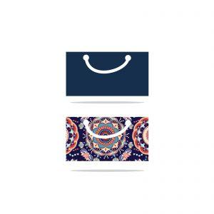 Colorful shopping bag vector logo design, Flowers pattern bag vector, handbag icon illustration.