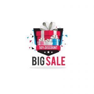 Mega Sale vector design. Christmas sale illustration, gift boxes for discount offer vector design.