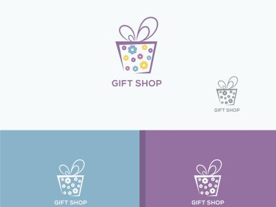 Gift box logo design, blooming surprise packaging box vector illustration. flowers baby gift shop. birthday discount sale box.