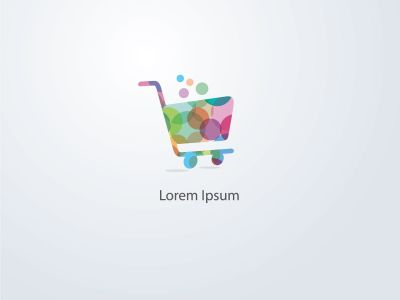 Shopping cart vector logo design, colorful trolley of goods illustration.