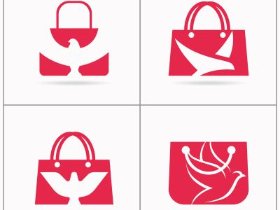 Shopping bag logo design, bird in hand bag vector set, travel agency logo design.