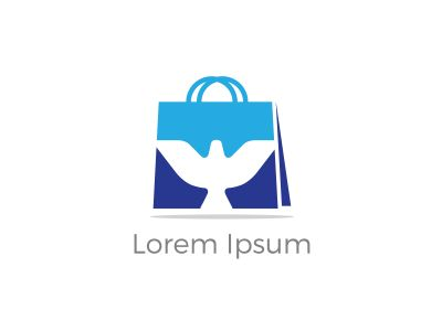 Shopping bag logo design, bird in hand bag vector, travel agency logo design.