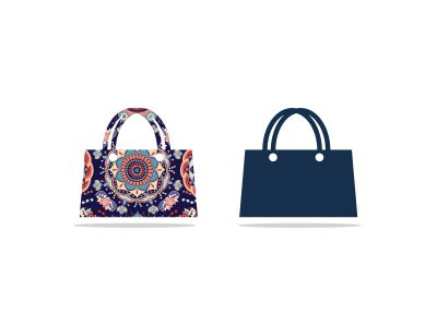 Colorful shopping bag vector logo design, Flowers pattern bag vector, handbag icon illustration.