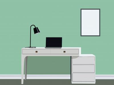 Designer Desk vector illustration, office work space table with laptop.