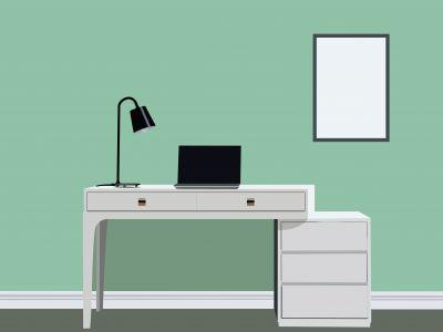 Designer Desk vector illustration, office work space table with laptop.