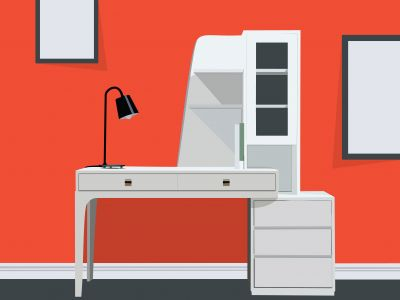 Graphics designer desk with laptop vector illustration. Beautiful office workspace furniture poster on wall mock-up vector.