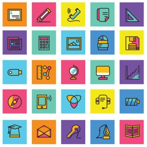 Web vector icons, Colorful icon designs, flat icons set, beautiful icons, business and technology icons, outline icons.