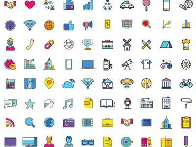 Web vector icons, Colorful icon designs, flat icons set, beautiful icons, business and technology icons, outline icons