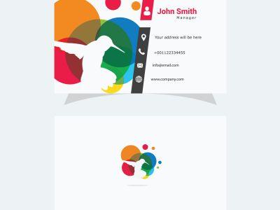Polygonal Dove logo, low poly pigeon, colorful bird vector design, bird business card.