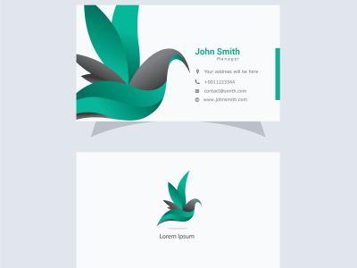 beautiful bird logo and business card, colorful bird, abstract dove vector