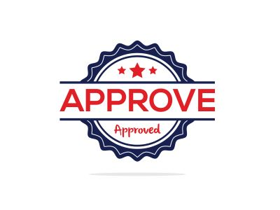Save Download Preview Approved seal stamp vector icon. Approve accepted badge flat vec