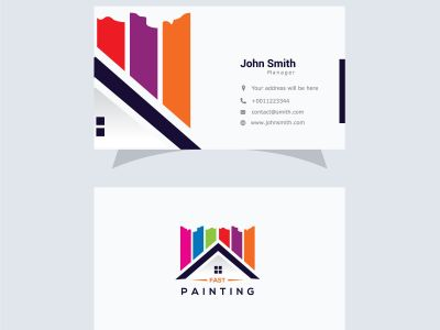 Paint home sign icon. Painting tool symbol. Logotype with Thank you ribbon. Vector. paint home icon Art. business card design