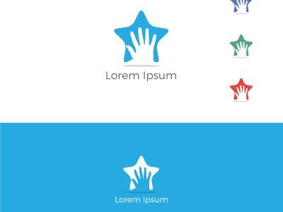 Stop hand in star vector, Handshake star logo, successful partnership vector design