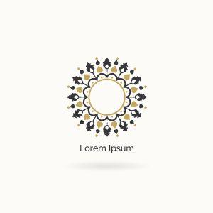 Mandala vector logo design. Round decorative and geometric emblem.