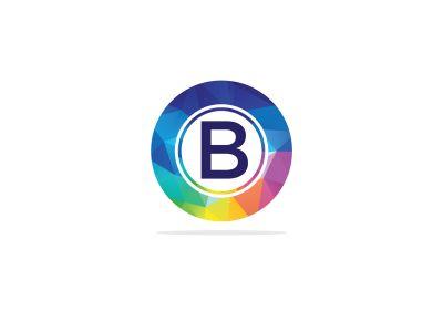B Letter colorful logo in the hexagonal. Polygonal letter B