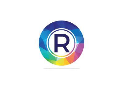 R Letter colorful logo in the hexagonal. Polygonal letter R