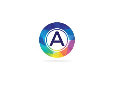 A Letter colorful logo in the hexagonal. Polygonal letter A
