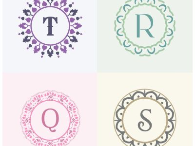 Cosmetics and beauty product brand letters S and T logo design. Q and R vector letter mandala monogram.