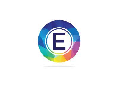 E Letter colorful logo in the hexagonal. Polygonal letter E
