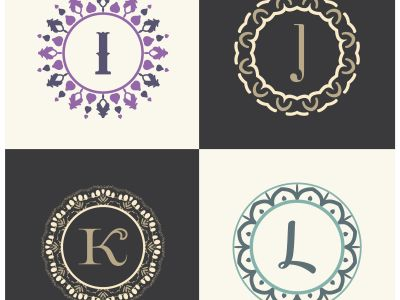 Cosmetics and beauty product brand letters I and J logo design. K and L vector letter mandala monogram.