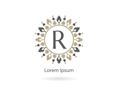 Beauty brand letter R vector icon. Luxury R letter logo. Vector illustration decorative and ornamental monogram.