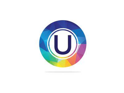 U Letter colorful logo in the hexagonal. Polygonal letter U